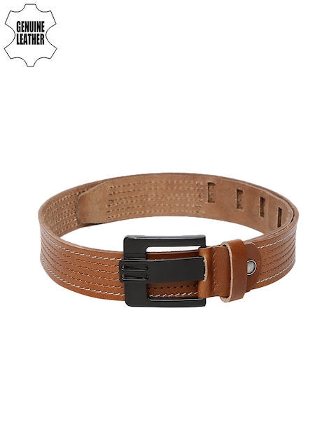 SPYKAR Men Tan Striped Genuine Leather Belt