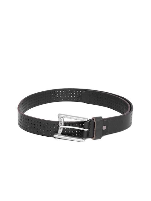 SPYKAR Men Black Genuine Leather Cut-Out Belt