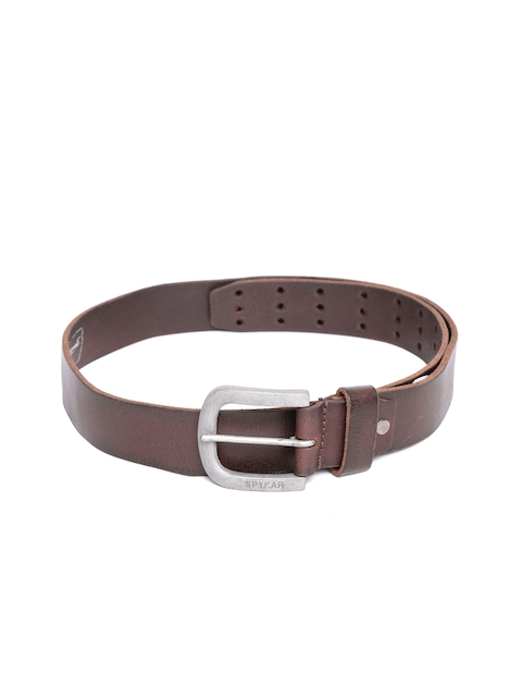 SPYKAR Men Coffee Brown Solid Genuine Leather Belt