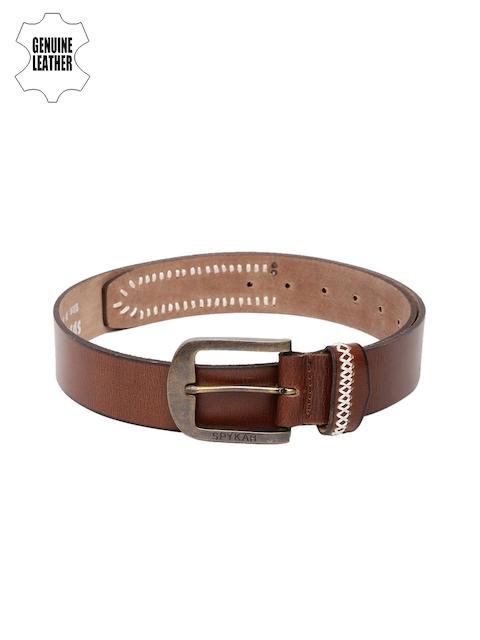 SPYKAR Men Brown Genuine Leather Belt with Stitch Detail
