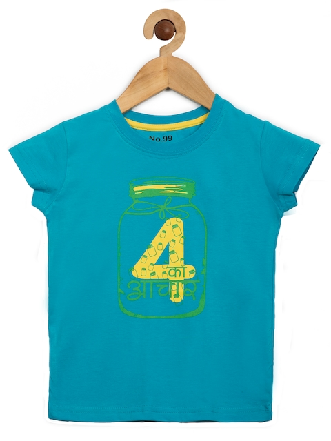 NO.99 Boys Blue Printed Round Neck T-shirt  available at myntra for Rs.269