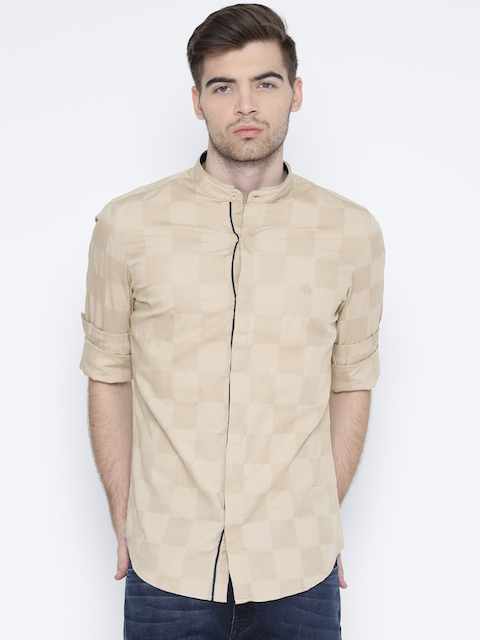 United Colors of Benetton Men Beige Self-Checked Casual Shirt