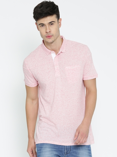 United Colors of Benetton Men Pink Solid Polo T-shirt