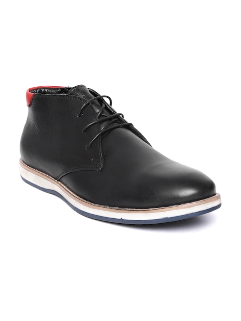 Escaro Men Black Genuine Leather Mid-Top Hand-Stitched Chukka Boots