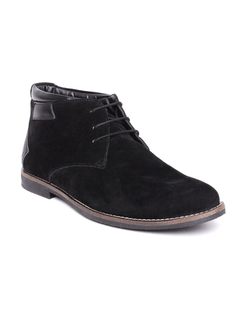 Escaro Men Black Solid Suede Flat Boots