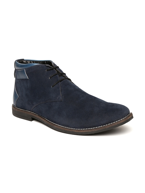 Escaro Men Navy Solid Suede Hand-Stitched Mid-Top Flat Boots