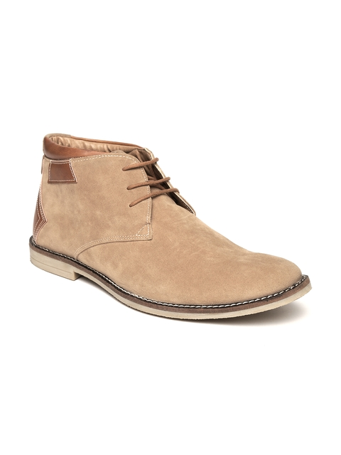 Escaro Men Beige Solid Suede Hand-Stitched Mid-Top Flat Boots