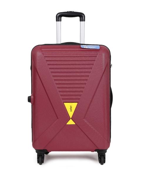 Safari Unisex Maroon Xcross Anti-Sctatch Medium Trolley Suitcase