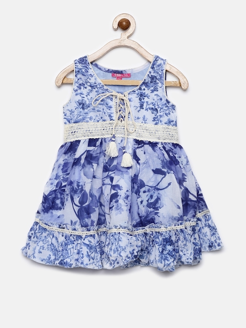 Biba Girls Blue Printed Tunic  available at myntra for Rs.1019
