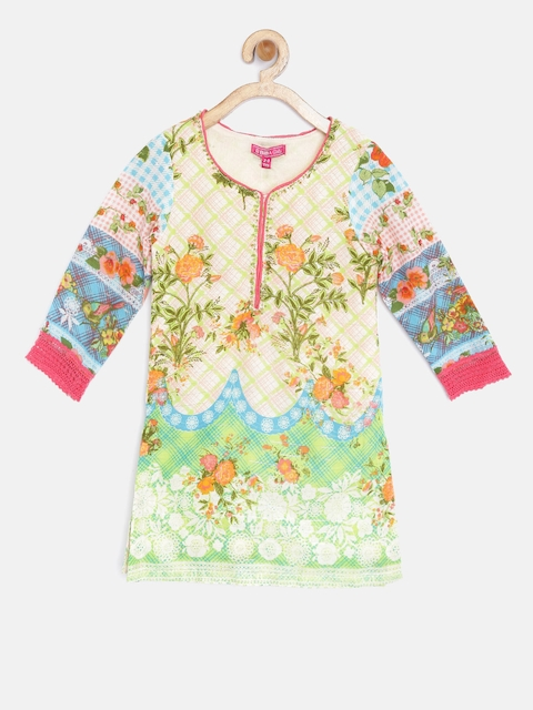 Biba Girls Multicoloured Printed Straight Kurta