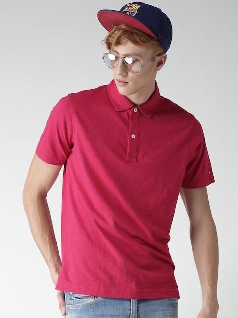 Tommy Hilfiger Men Magenta Solid Slim Fit Polo Collar T-shirt