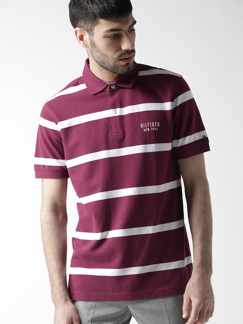 Tommy Hilfiger Men Magenta Striped Polo Collar T-shirt