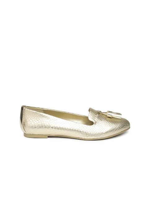 ALDO Women Gold-Toned Textured Flat Shoes