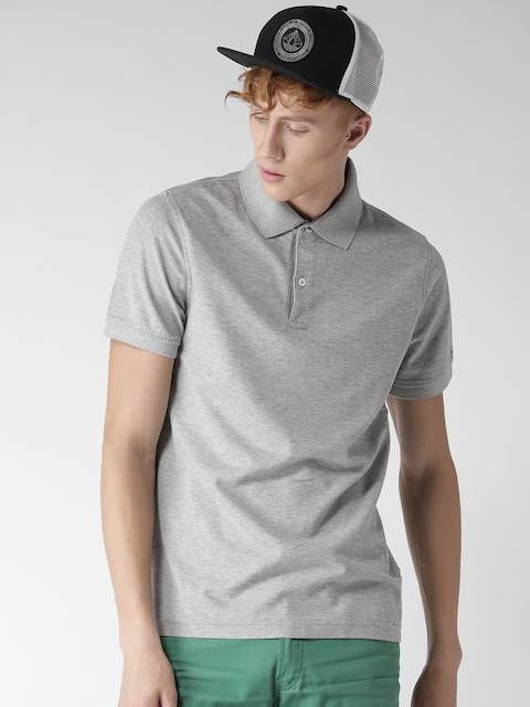 Tommy Hilfiger Men Grey Melange Solid Slim Fit Polo Collar T-shirt
