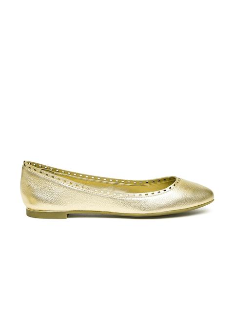 ALDO Women Gold-Toned Leather Ballerinas