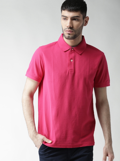 Tommy Hilfiger Men Pink Solid Slim Fit Polo Collar T-shirt