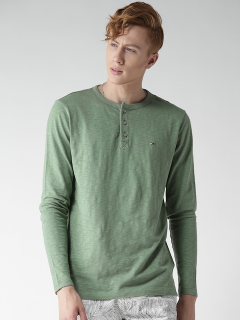 Tommy Hilfiger Men Olive Green Solid Henley Neck T-shirt