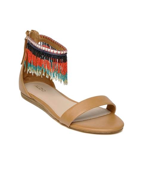 ALDO Women Brown & Orange Beaded Open Toe Flats