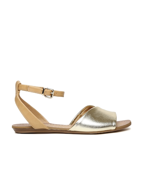 ALDO Women Gold-Toned Colourblocked Open Toed Flats