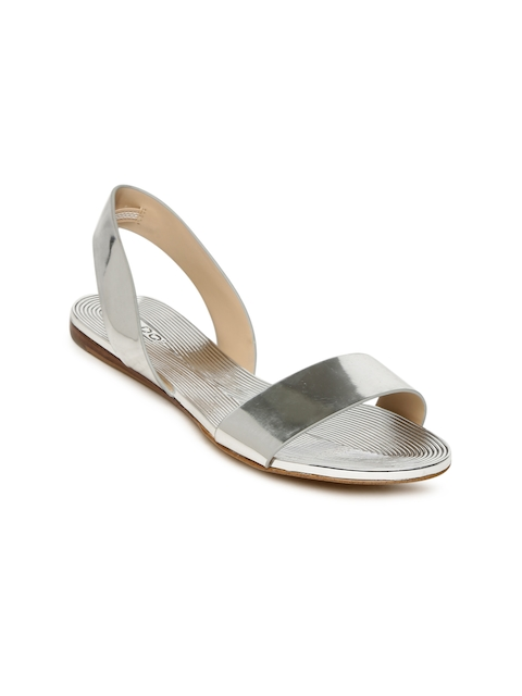 ALDO Women Silver-Toned Solid Open Toe Flats
