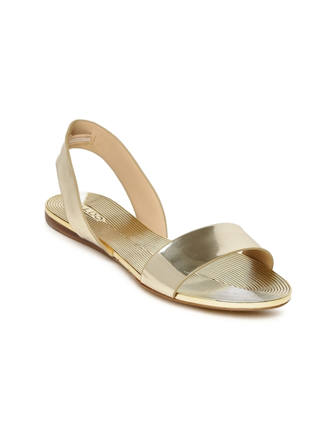 ALDO Women Muted Gold-Toned Solid Synthetic Open Toe Flats