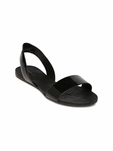 ALDO Women Black Solid Open Toe Flats