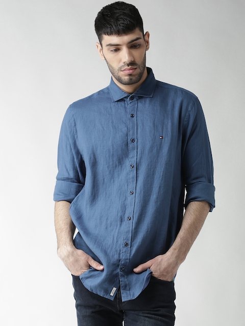 Tommy Hilfiger Men Blue New York Fit Linen Solid Casual Shirt