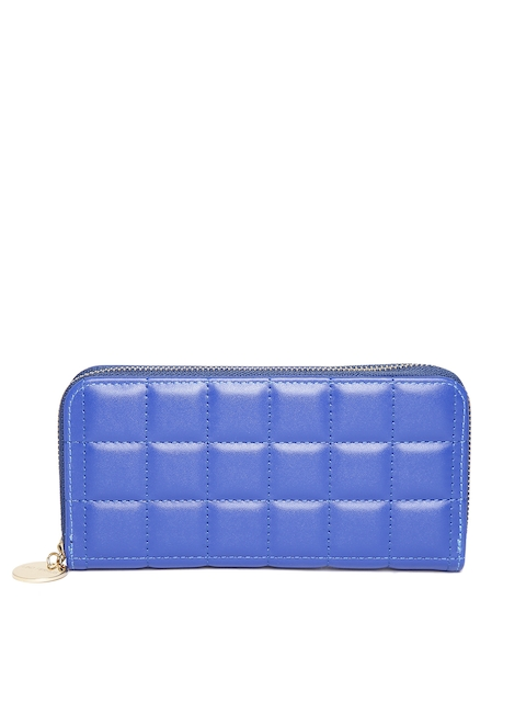 Lino Perros Women Blue Quilted Zip-Around Wallet
