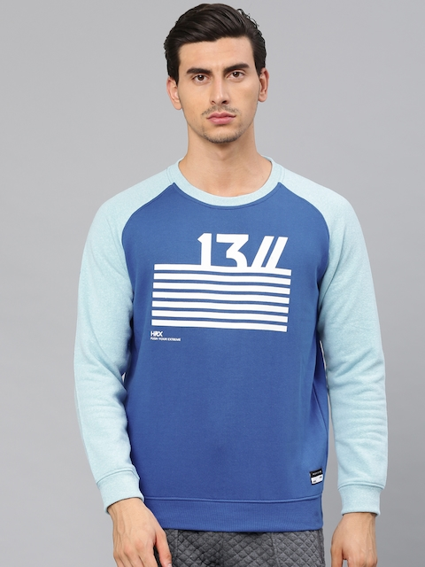 HRX by Hrithik Roshan Men Blue Printed Sweatshirt