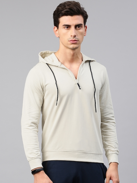 HRX by Hrithik Roshan Men Beige Solid Hooded Active Sweatshirt