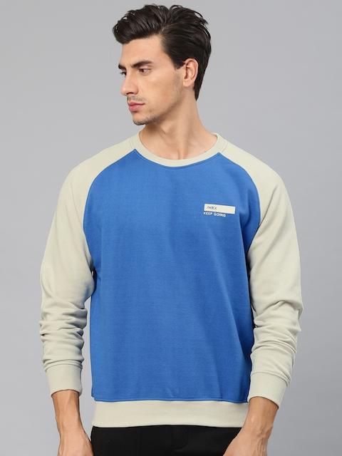 HRX by Hrithik Roshan Men Blue & Beige Solid Sweatshirt