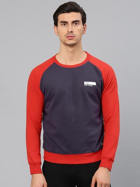 HRX by Hrithik Roshan Men Purple & Red Solid Sweatshirt