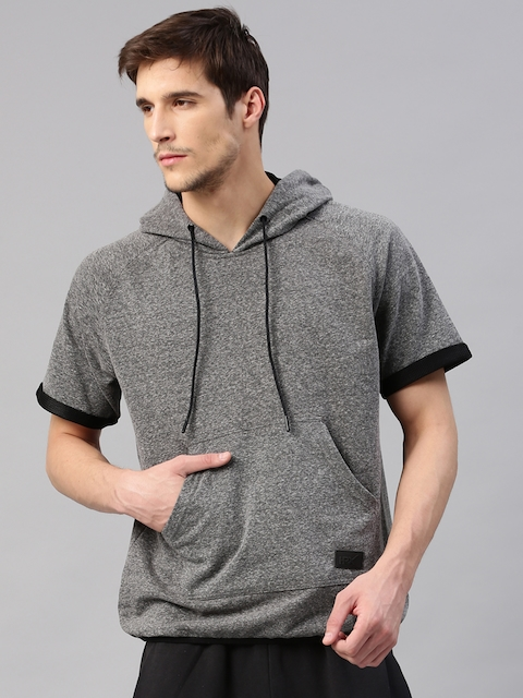 HRX by Hrithik Roshan Men Charcoal Grey Solid Active Hooded Sweatshirt