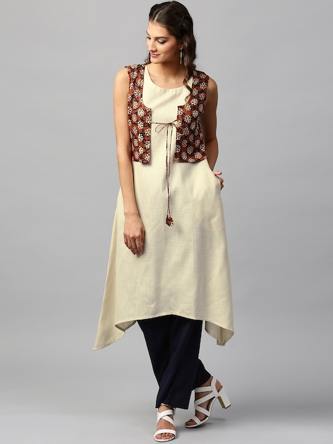 Libas Women Cream-Coloured Solid A-Line Kurta with Printed Waistcoat  available at myntra for Rs.339