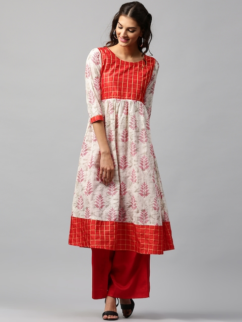 Libas Women Off-White & Red Printed Anarkali Kurta  available at myntra for Rs.399