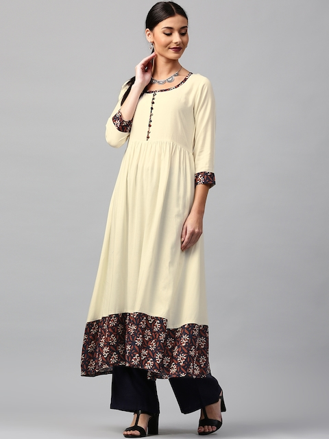 Libas Women Cream-Coloured Printed Detail Anarkali Kurta  available at myntra for Rs.594
