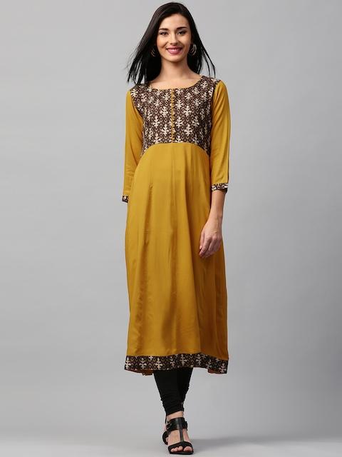 Libas Women Mustard Yellow Printed Anarkali Kurta  available at myntra for Rs.594