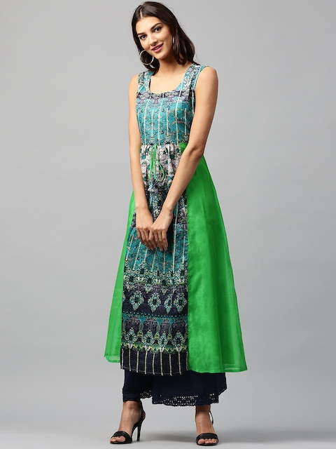 Libas Women Green & Blue Printed Anarkali Kurta  available at myntra for Rs.599