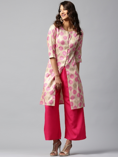Libas Women Beige & Pink Chanderi Silk Printed A-Line Kurta  available at myntra for Rs.559