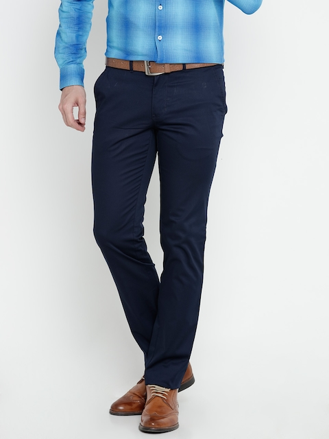 Raymond Men Navy Tapered Fit Solid Smart Casual Trousers