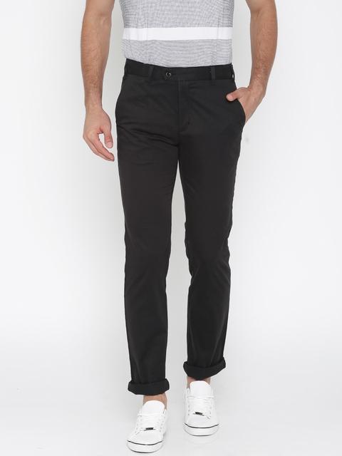 Park Avenue Men Black Super Slim Fit Solid Regular Trousers