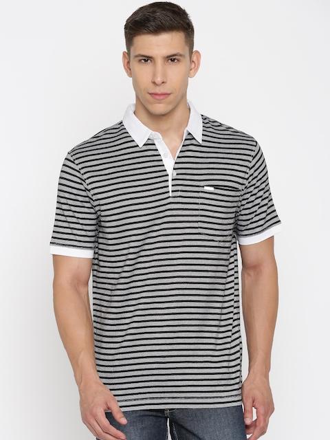Park Avenue Men Black Striped Slim Fit Polo Collar T-shirt