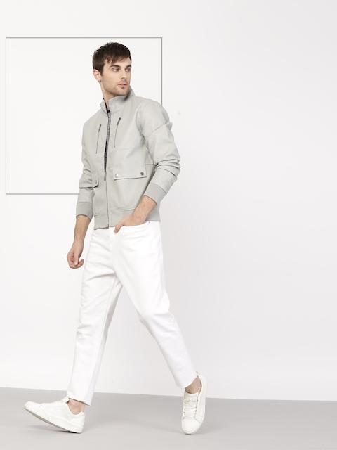 ether Men Grey Solid Bomber Jacket