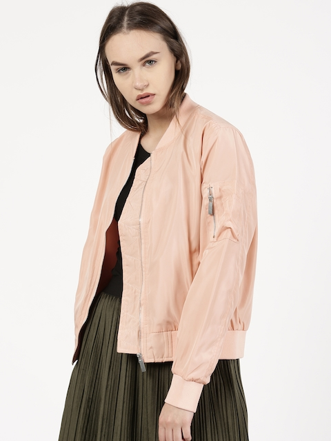 ether Women Peach-Coloured Solid Bomber