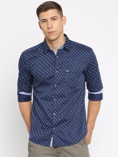 Park Avenue Men Navy Blue Slim Fit Printed Casual Shirt