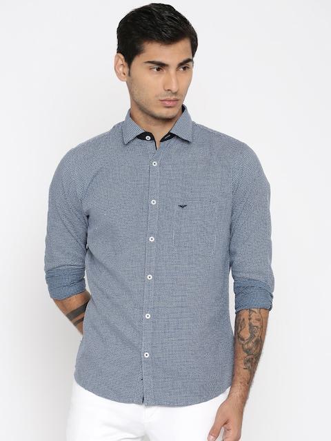 Park Avenue Men Blue & White Slim Fit Self Design Casual Shirt