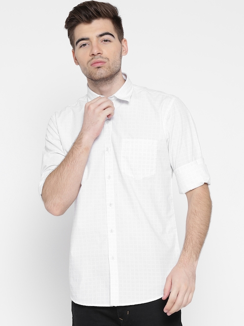 Monte Carlo Men White Printed Slim Fit Casual Shirt
