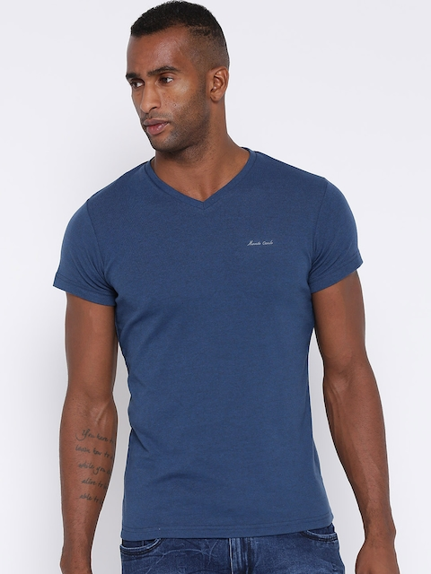 Monte Carlo Men Blue Solid V-Neck T-shirt