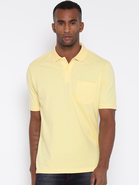 Monte Carlo Men Yellow Solid Polo Collar T-shirt