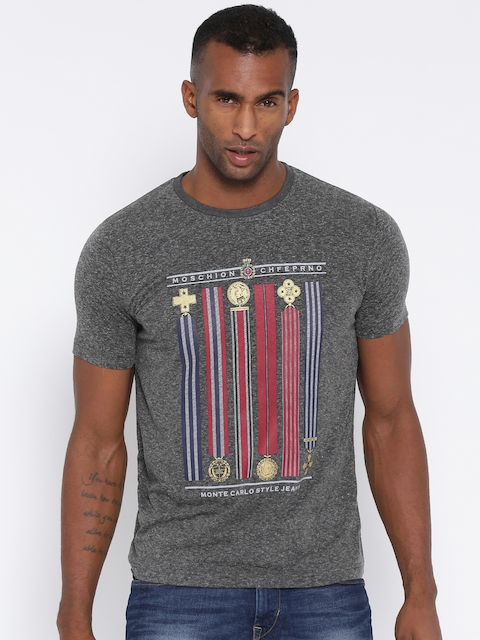 Monte Carlo Men Charcoal Grey Printed Round Neck T-shirt